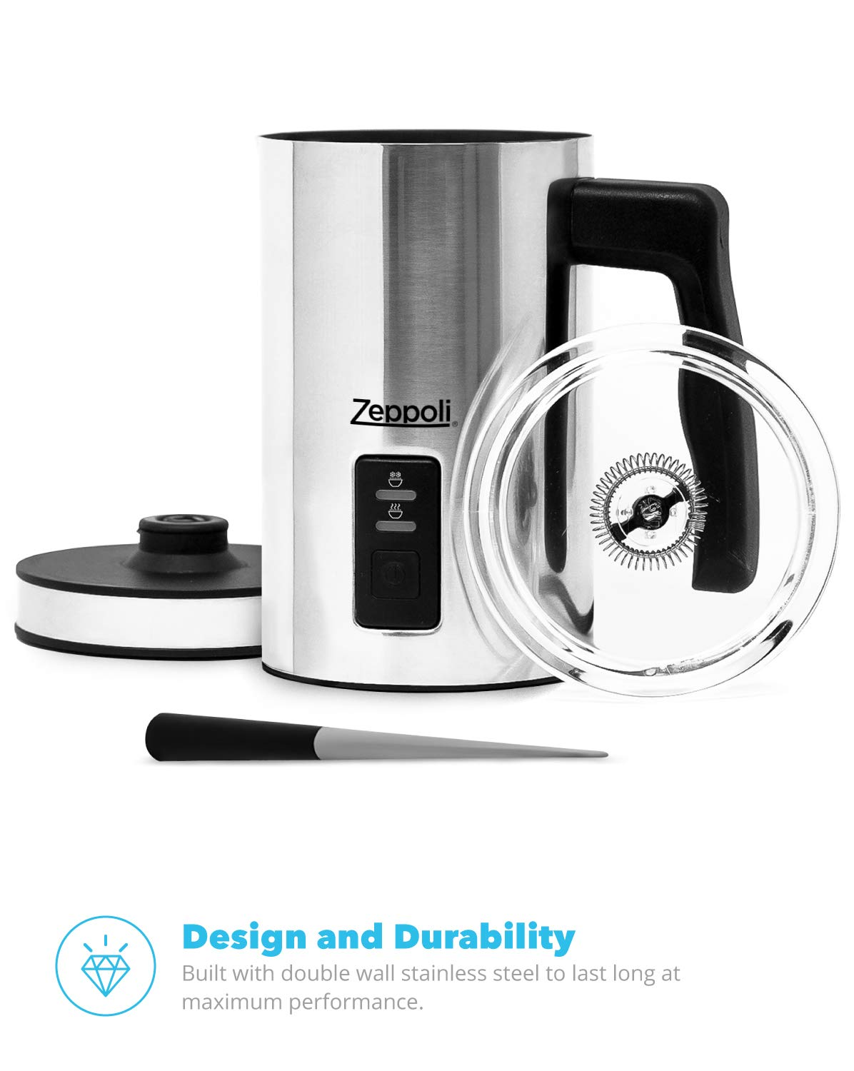 Zeppoli Milk Frother and Warmer - Automatic Milk Heater, Electric Milk Steamer and Milk Foamer | Great as a Latte Frother and Cappuccino Maker for Coffee and Hot Chocolate - Comes With a Silicone Scraper by Zeppoli (Image #8)