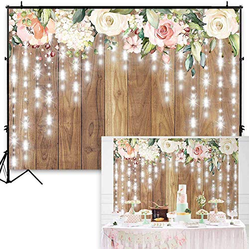 Funnytree 7x5ft Durable Fabric Floral Rustic Wooden Wall Party Backdrop No Wrinkles Wedding Retro Wood Floor Photography Background Glitter Flower Bridal Shower Baby Birthday Banner Photobooth Props