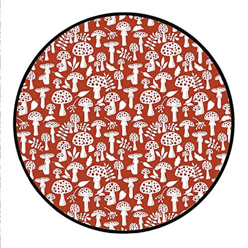 MOOCOM Mushroom Comfortable Round Rug,Cute Amanita Pattern with Leaves Berries Poisonous Plants Cartoon Style Decorative for Living Room Bedroom,Round 75in/190cm