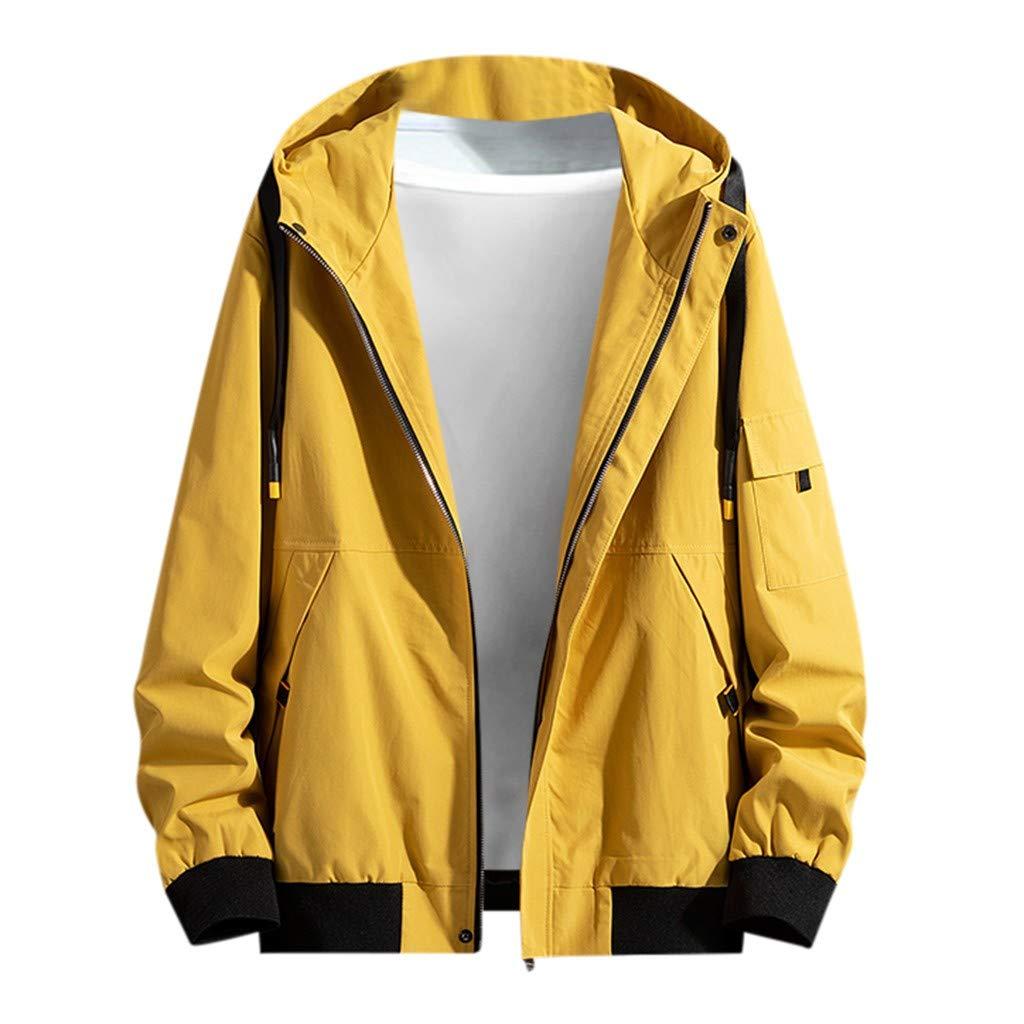 Fitfulvan Men's Hooded Jacket Colorblock Long Sleeve Short Windbreaker Loose Casual Winter Coat Yellow
