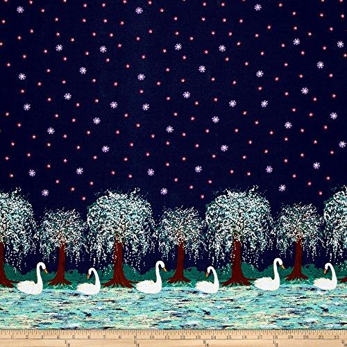 Border Cotton Fabric (Michael Miller Swan Lake Border Midnight Fabric By The Yard)