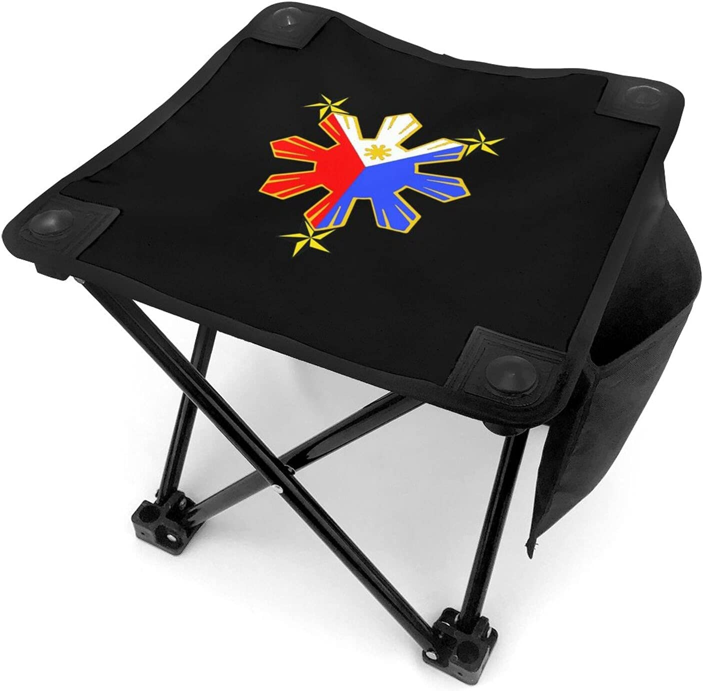 Pinoy Filipino Flag Folding Camping Stool Portable Fishing Slacker Chair Mini Foldable Stool for Outdoor Backpacking Hiking BBQ Picnic Travel Gardening and Beach with Carry Bag