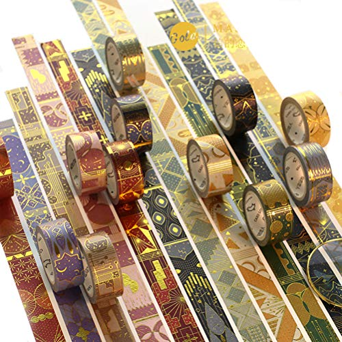 Vintage Gold Foil Classic Arab Style Washi Tape Set- 6 Different Rolls Randomly - Decorative DIY Japanese Masking Scrapbook Notebook Sticky Planner Washi Tape Set
