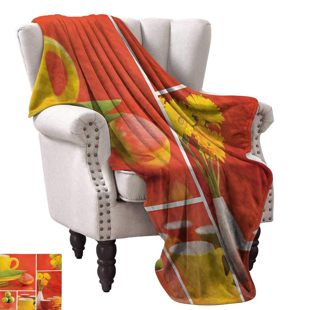 Anyangeight Weave Pattern Extra Long Blanket,Tea and Coffee Cups Composition in Warm Colors Flowers Tulips and Apples 50''x30'',Super Soft and Comfortable,Suitable for Sofas,Chairs,beds