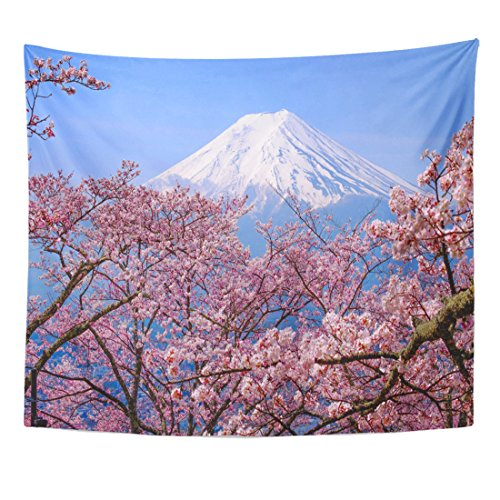 (TOMPOP Tapestry Mt Fuji and Cherry Blossom in Japan Spring Season Home Decor Wall Hanging for Living Room Bedroom Dorm 50x60 Inches)