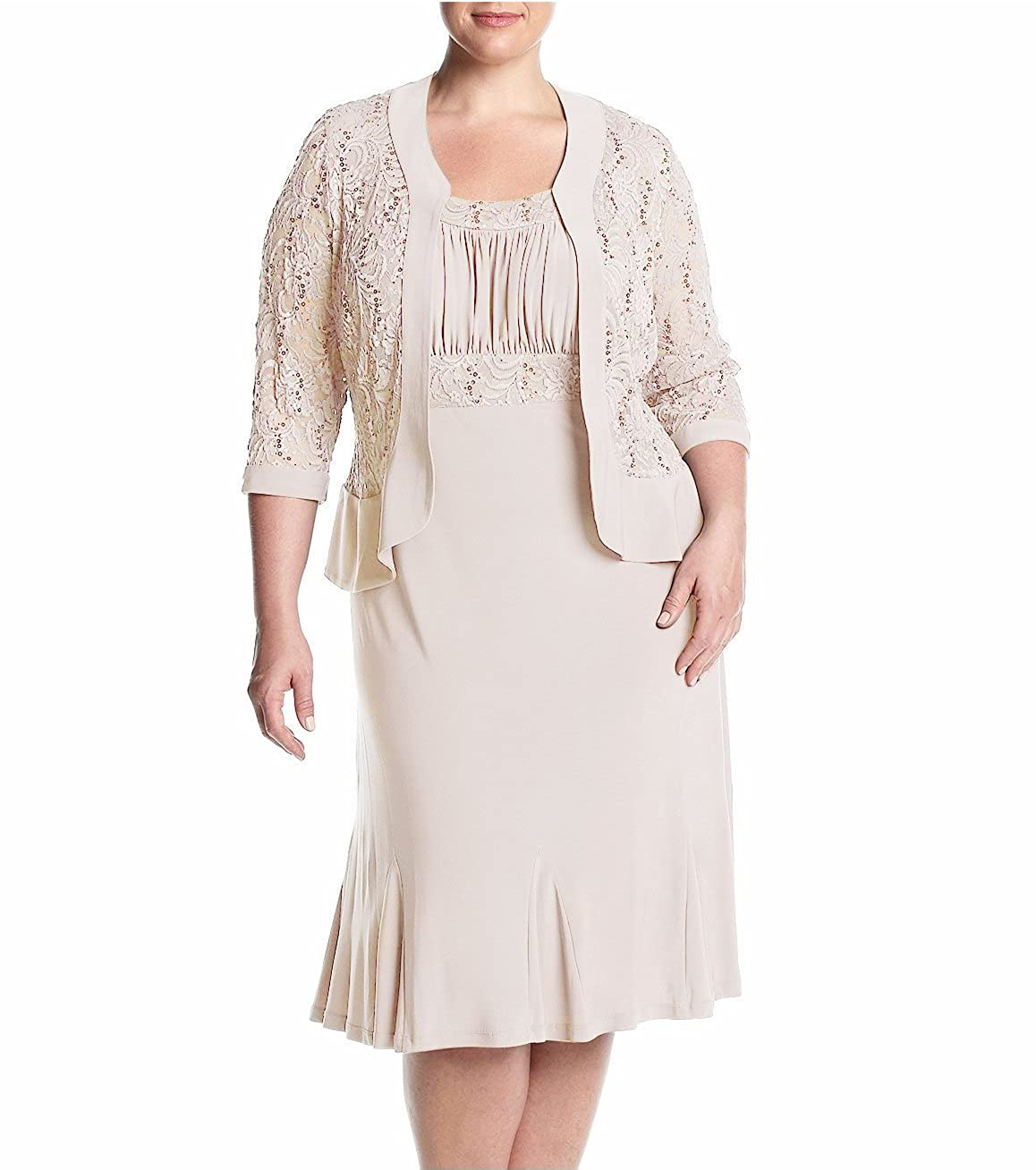 1930s Style Wedding Dresses | Art Deco Wedding Dress R&M Richards RM Richards Womens Plus Size Ruffled Trim Lace Jacket Mother Of The Bride Dress $99.99 AT vintagedancer.com