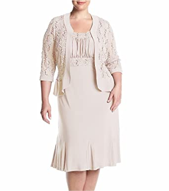 2c7b7e9c7d143 RM Richards Womens Plus Size Ruffled Trim Lace Jacket Mother of The Bride  Dress (14W