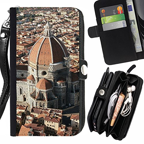 FJCases Florence Italy Postcard View Card Holder Wallet with Strap and Zipper Cover Case for Samsung Galaxy S8 ()