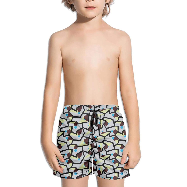 BingGuiC Boys Quick Dry Shorts Geometric Memphis Style Modern Colorful Fashion Swim Trunks