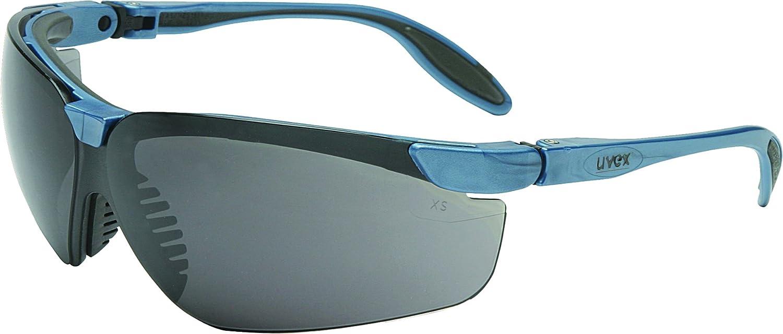 Uvex S3724 Genesis Slim Safety Eyewear, Blue Gray Frame, Dark Gray Ultra-Dura Hardcoat Lens
