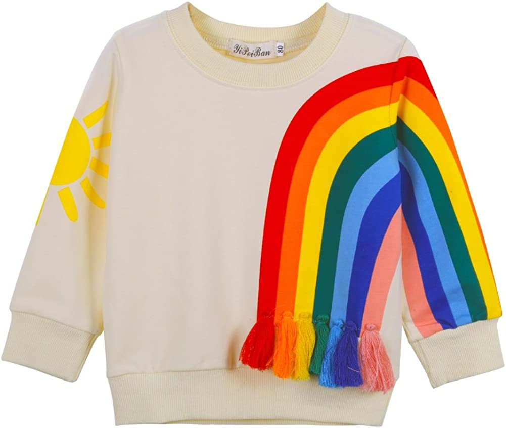 MiyaSudy Kid Girls Long Sleeve T-Shirts Rainbow Printed Tassel Tops Tee Clothes