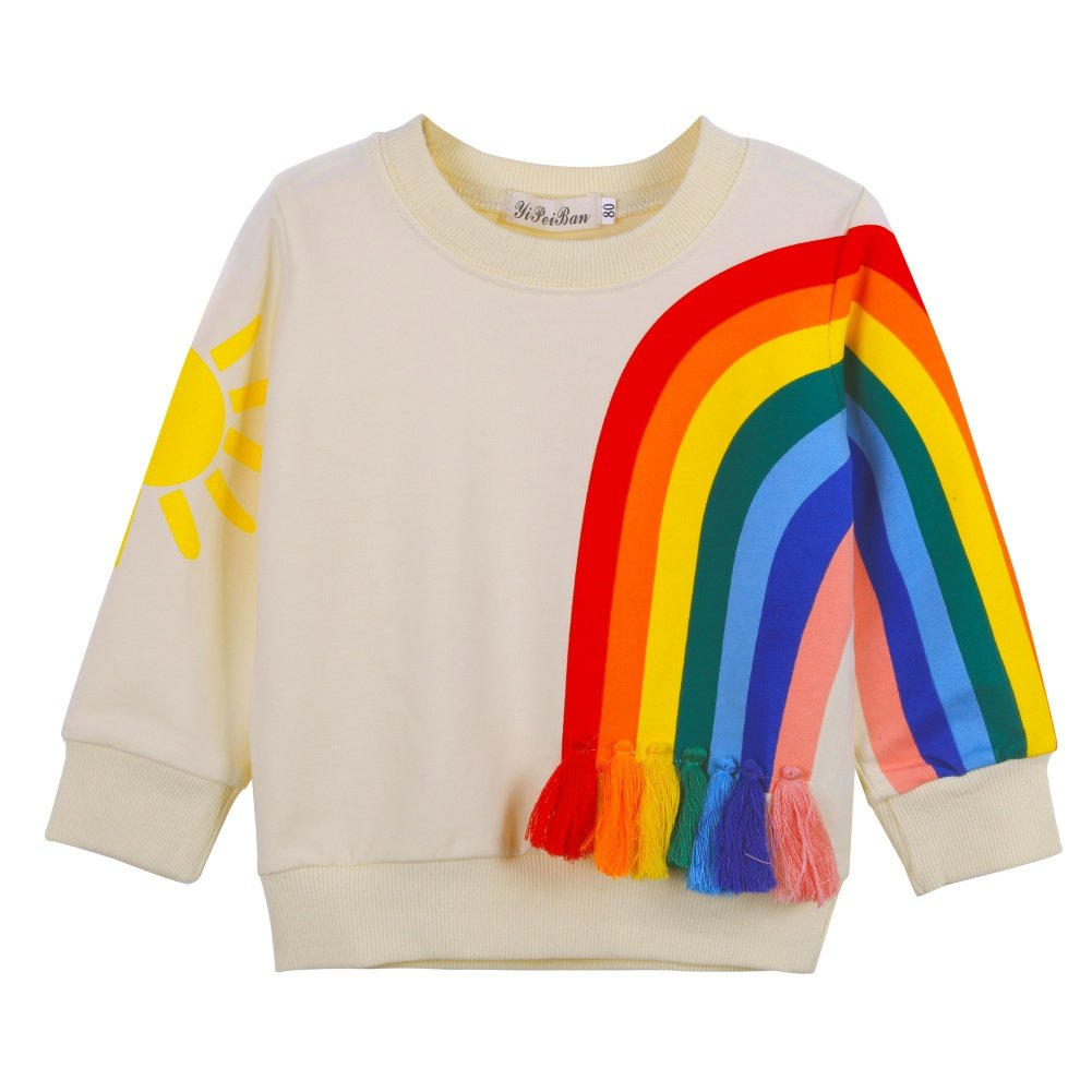 MiyaSudy Kid Girls Long Sleeve T-Shirts Rainbow Printed Tassel Tops Tee Clothes
