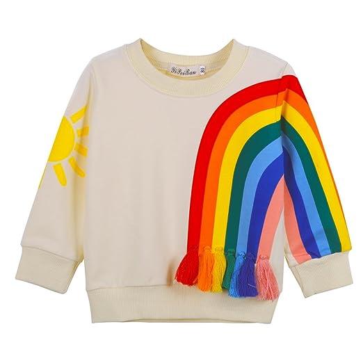 398c786c6 BAOBAOLAI Toddler Girls Kids Long Sleeve Sun Rainbow Top Shirt Sweatshirt  with Tassels