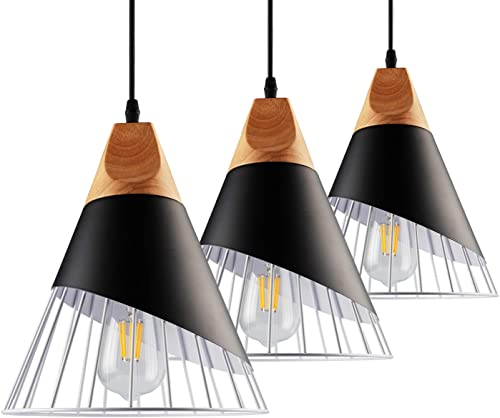 B2ocled Pendant Light Kit – E26 E27 Lamps and Pendant Lighting Shade Metal Cage, Ideal for Restaurant,Kitchen Island,Dining Room and Bedroom, Nordic Modern Iron Style Pendant Lights Fixture 3 Kits