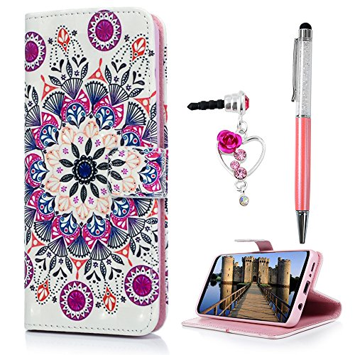 S9 Case, Galaxy S9 Case Wallet, S9 Case Cover, 3D Pink Mandala Totem Flower Magnetic Flip Bumper PU Leather Card Slots Kickstand Protective Galaxy S9 Case Skin Shell Protector ZSTVIVA - Colorful (Pink Skin Protector Case)