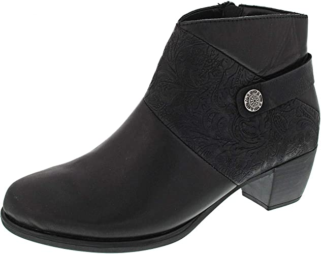 Remonte Low Block Heel Black Leather