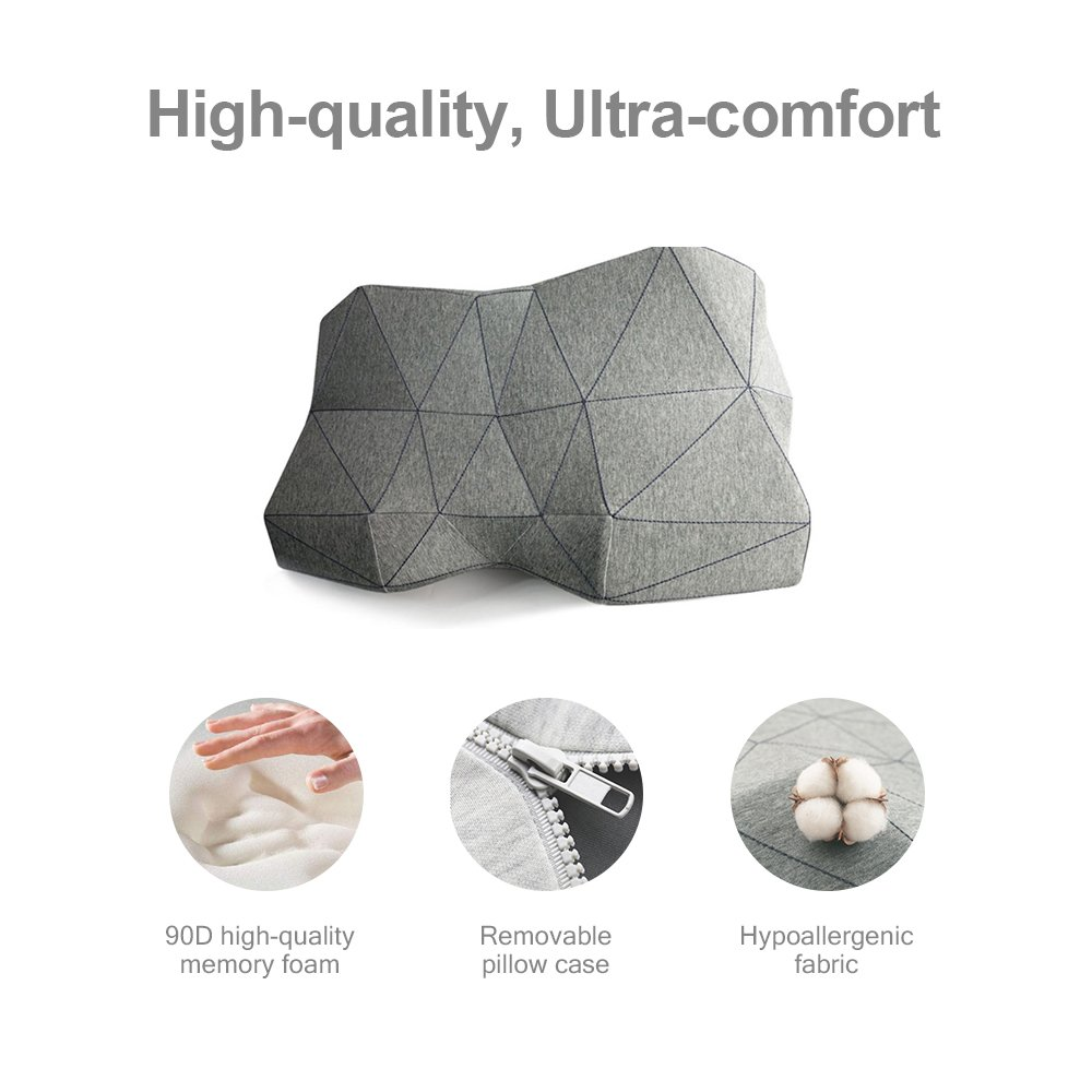 PILO Classic Ergonomic Smart Music Pillow, Orthopedic Contour Neck Pillow of Memory Foam & Bamboo Charcoal, Anti Snore Sound Therapy Pillow with Binaural Speakers, White Noise & Themed Sound Sleep-Aid by Pilo (Image #2)