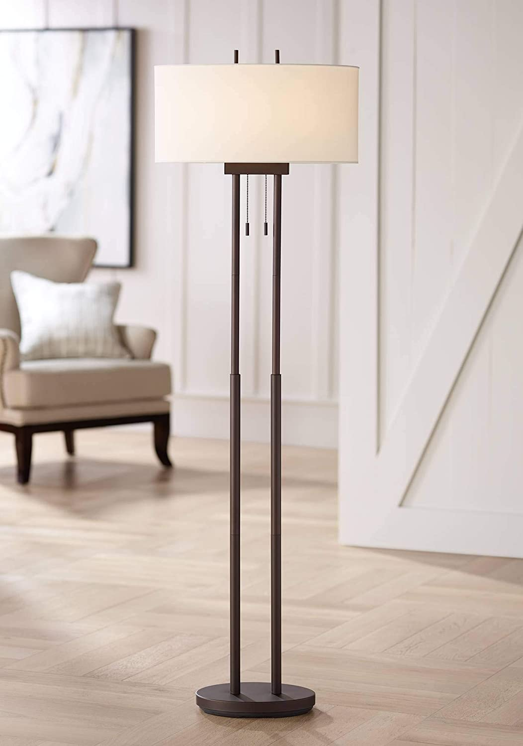 Roscoe Modern Floor Lamp Twin Pole Oil Rubbed Bronze White Drum Shade for Living Room Reading Bedroom Office – 360 Lighting
