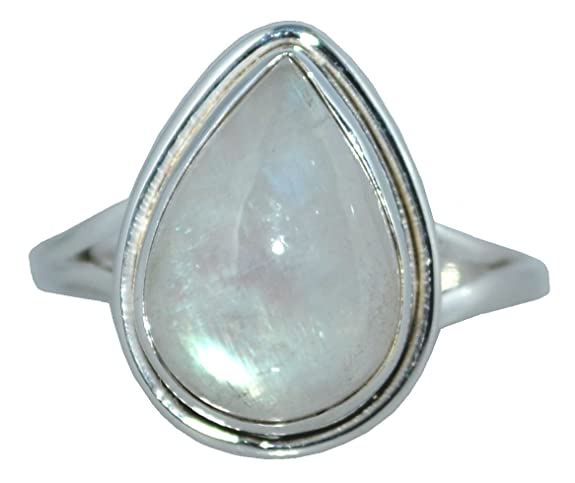 Sterling SILVER Rainbow Moonstone Ring, Solitaire Natural Gemstone Handmade Jewellery Gifts, Sizes L to Z