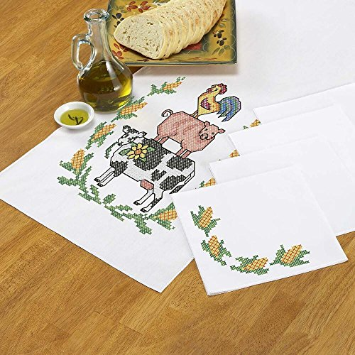 Herrschners® Animal Stack Table Runner & Napkins Stamped Cross-Stitch