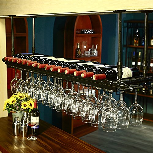 WGX Wine Bar Wall Rack 60'',Hanging Bar Glass Rack&Hanging Bottle Holder Adjustable (Black)