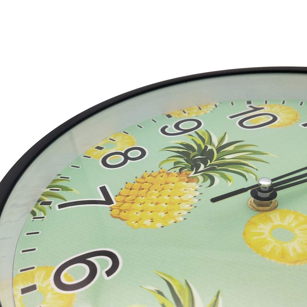 LI-LOVE Non Ticking Silent Quartz Plastic Frame Glass Cover Large Round Wall Clock Green Yellow Pineapple School/Home/Office Durable Arabic Numeral Battery Operated Art Diameter 10 Inch