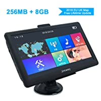 SAT NAV GPS Navigation System, Jimwey 7 inch 8GB 256MB Car Truck Lorry Satellite Navigator Device with Post Code POI Search Speed Camera Alerts, Capacitive Touch Screen with Pre-loaded UK and EU Latest 2018 Maps Lifetime Free Updates (7inch)