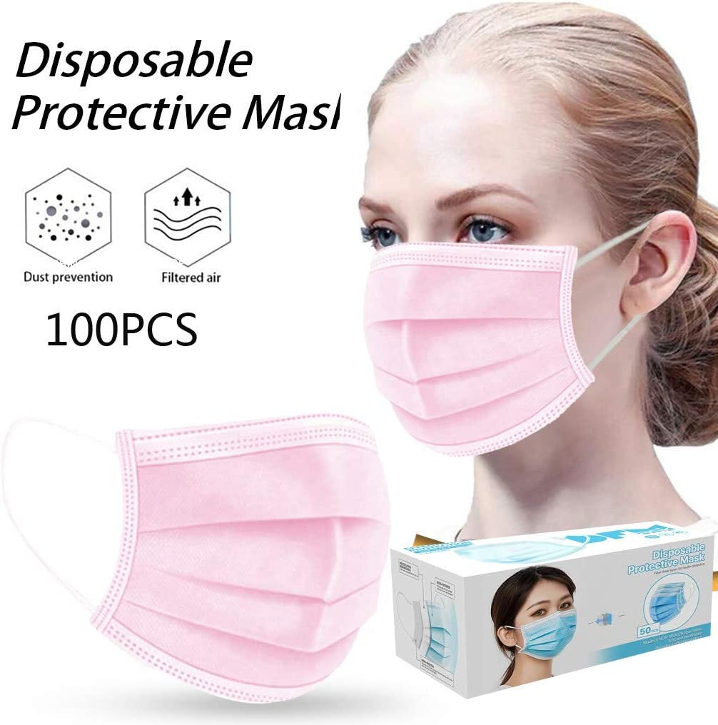 3-ply Filter Breathable Face Bandanas with Elastic Strap Earloop Unisex Face Macks Oral Protections for Adult Men Women Kadola 50//100PCS Disposable Face Cotton