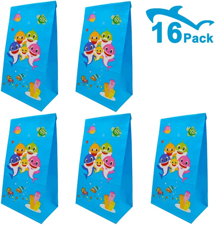 Bomcan 16 Pack Baby Shark Party Gift Bags - Cute Paper Treat Bags for Kids Birthday Party Treatment (Goodies, Cookies, Desserts, Cupcakes.) - Small Favor Bags for Baby Shower