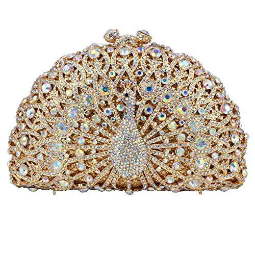 Animal Crystal Evening PeacockParty Purse Soiree Women Chain Handbags Wedding Bag Clutches E