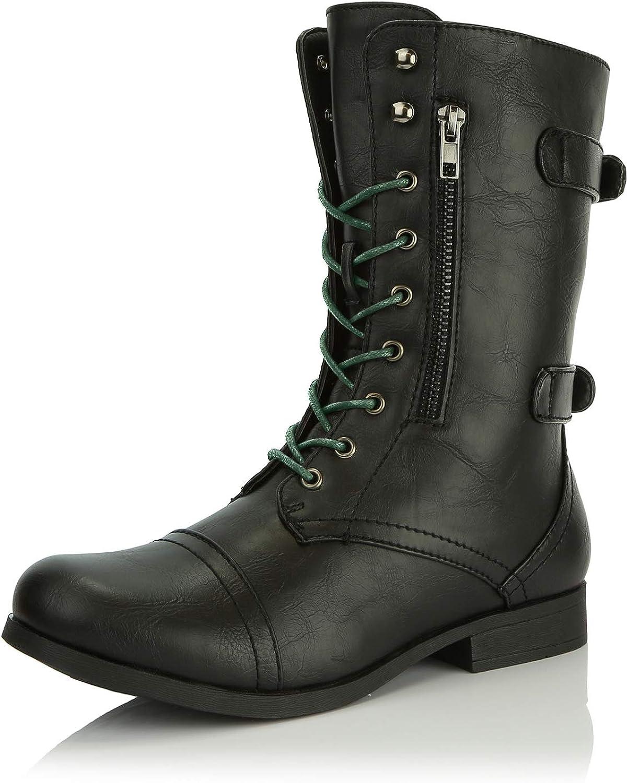 Women's Dailyshoes Evan-10 Ankle Zipper Strap Military Combat Boots, Black Boots, Black Laces, 8 B(M) US