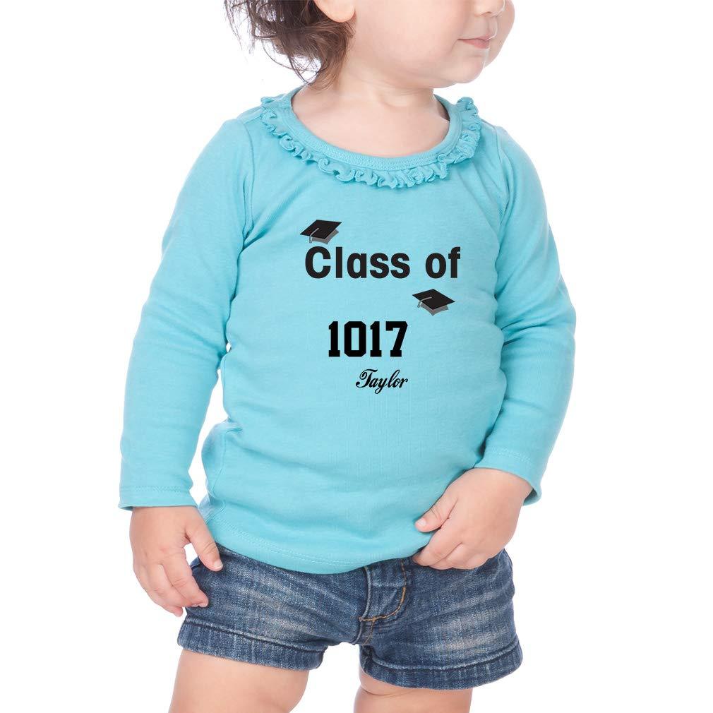 Personalized Class Graduaton Cap Cotton Toddler Long Sleeve Ruffle Shirt Top