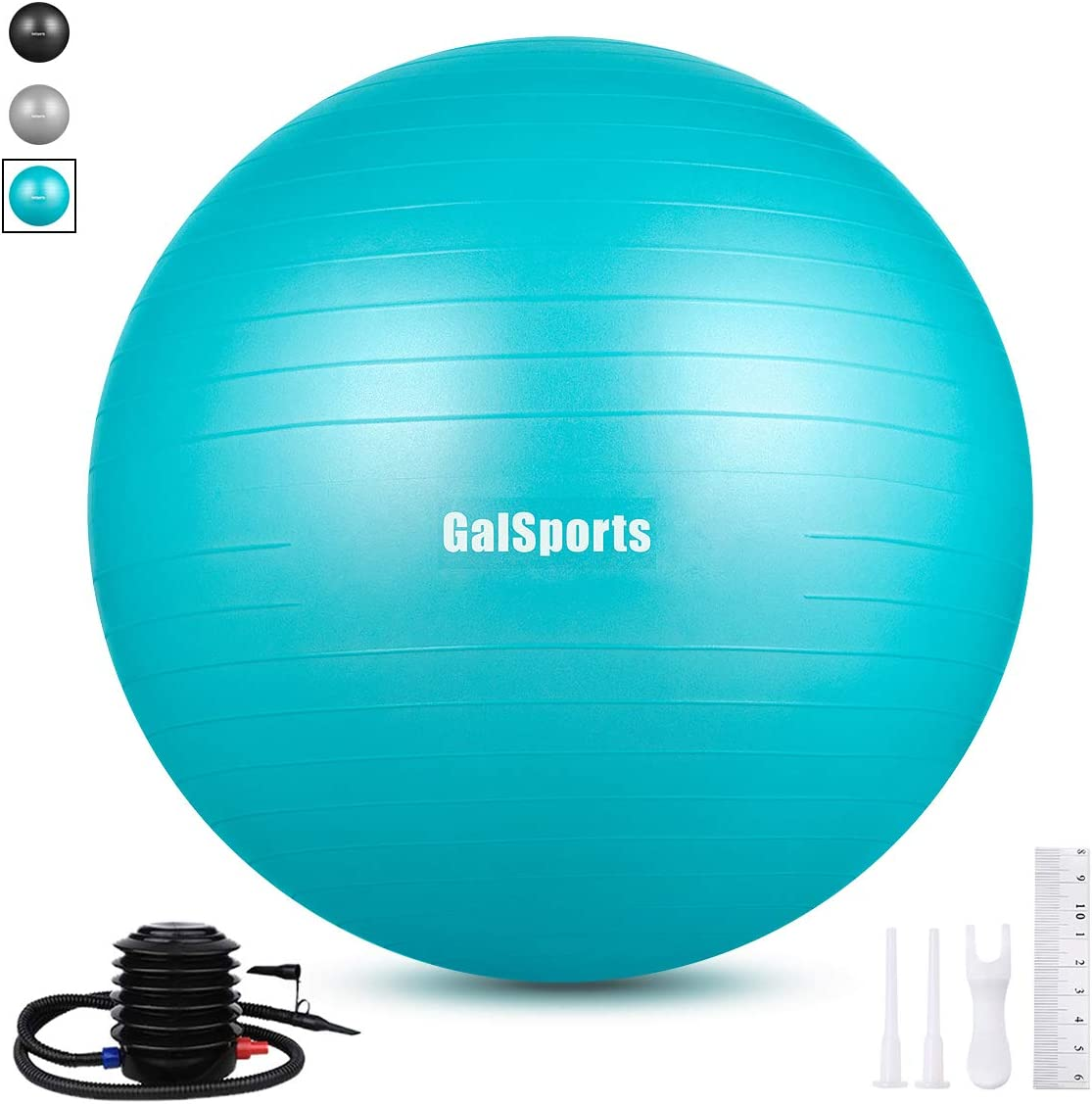 GalSports Exercise Ball 55cm-85cm Extra Thick Yoga Ball, Anti-Burst Yoga Ball Chair Supports 2200lbs with Quick Pump, Stability Fitness Ball for Birthing Core Strength Training Physical Therapy