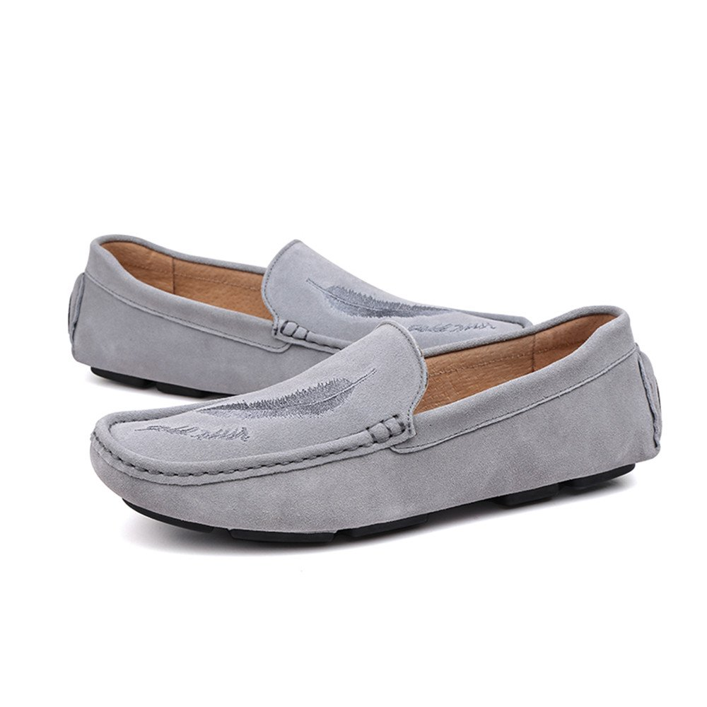 Ying xinguang Herren Driving Loafers Casual Leder Schleifen Anti Stil und Hollow Breathable Anti Schleifen Rutsch Soft Bottom Boot Mokassins Grau 87a3d1
