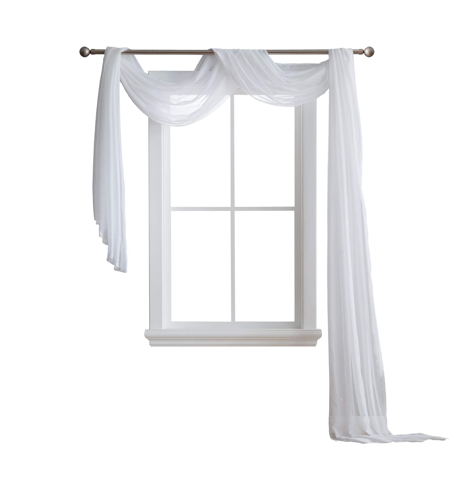 LinenZone Karina - Semi-Sheer Window Scarf (54 x 216) - Elegant Home Decor Window Treatments - Add to Window Curtains for Enhanced Effect (1 Scarf 54'' x 216'', White)