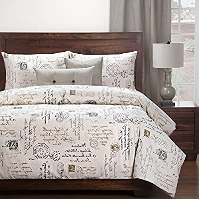 Image of 6 Piece Full, Natural Look Classic French Country Quotes Printed Pattern Duvet Cover Set, Traditional Mid-Century Script Saying Design, Beautiful Themed, Antique Bedding, Adorable Ivory, Brown Color