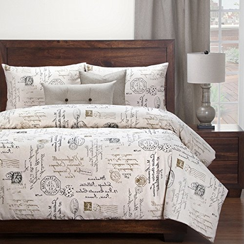 6 Piece Natural Look Classic French Country Quotes Printed Pattern Duvet Cover Set