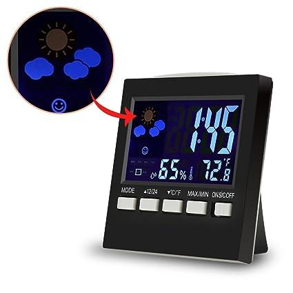 SMAERTHYB Reloj Despertador Digital Higrómetro Medidor De Temperatura Estudiante LCD Reloj Despertador Luz De Fondo Escritorio