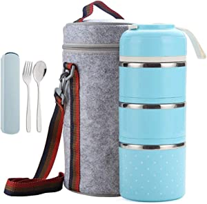 Cute Bento Stackable Lunch Box with Flatware Set Stainless Steel Lunch Containers Leakproof Food Container Insulated Lunch Bag for Adults Women Men Kids (Blue, 3-Tier)