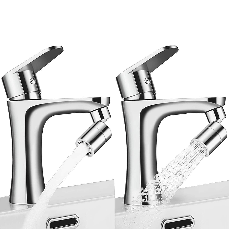 Kitchen Sink Faucet Aerator, Dual Water Sprayer Modes 2.5GPM Water Flow Bathroom Sink Faucet Sprayer 360-degree Swivel Female thread - 55/64 Inch-27UNS/ Chrome