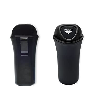 Style Auto Car Trash Can Clips to Back Seat, Fits Cup Holder, and Side of Doors, with Car Registration and Insurance Card Holder Included   Push to Open Portable Waste Can, Black: Automotive