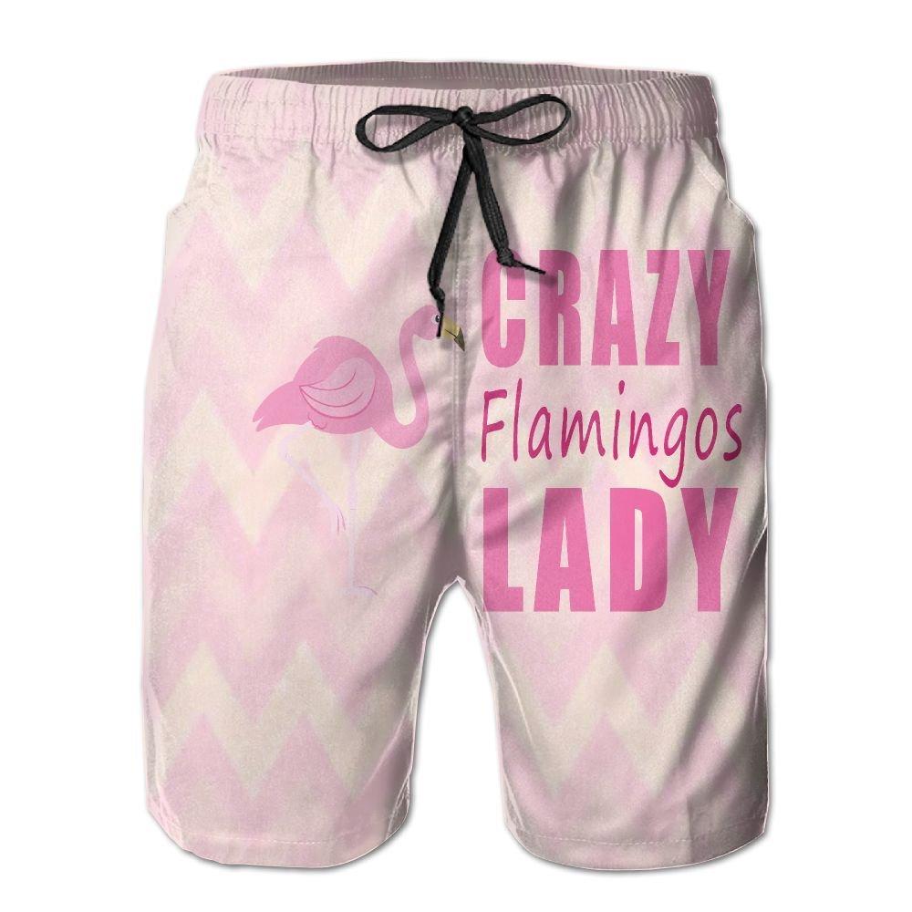YOIGNG Boardshorts Crazy Flamingos Mens Quick Dry Swim Trunks Beach Shorts