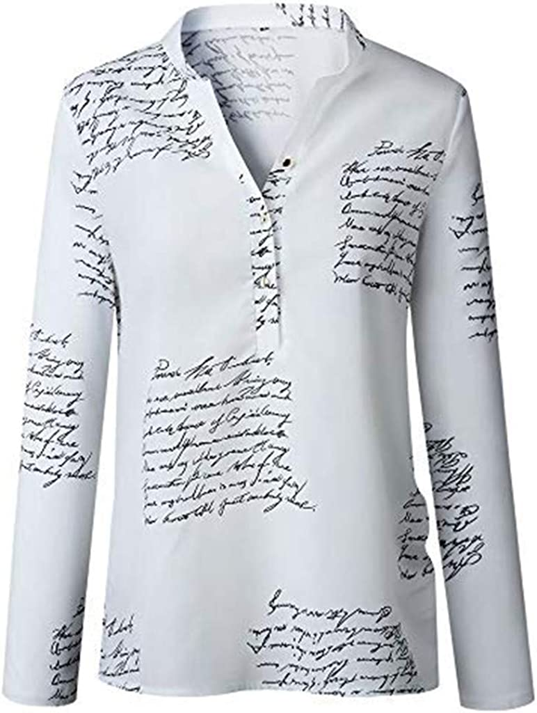 Womens V-Neck Button T-Shirt Letters Printing Tops Long Sleeve Blouse Tee
