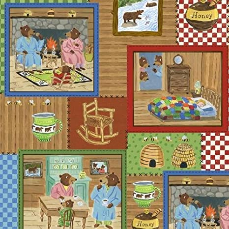 Great for Quilting, Sewing, Craft Projects, /& More 1 Yard X 44 1 Yard The Three Bears 100/% Cotton Fabric by Paul Meisel