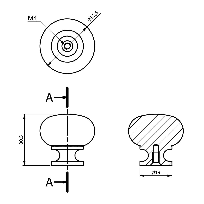 15 x SO-TECH/® M/öbelknopf OSCAR Edelstahloptik /Ø 32,5 mm Knopfgriff K/üchengriff K/üchenknopf M/öbelgriff Design trifft auf Funktion