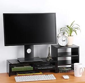 Monitor Laptop Stand Adjustable Computer Shelf Riser with 3-Tier Desktop Storage Organizer for Cellphone TV Books Multimedia Laptop Printer Office Home(Black)