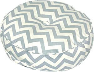 Greendale Home Fashions 20-Inch Round Floor Pillow Zig Zag Fabric, Village Blue