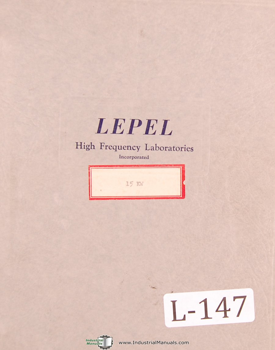 Lepel 15 KW High Frequency Converter Installation And Service Manual 1943 1951 Plastic Comb