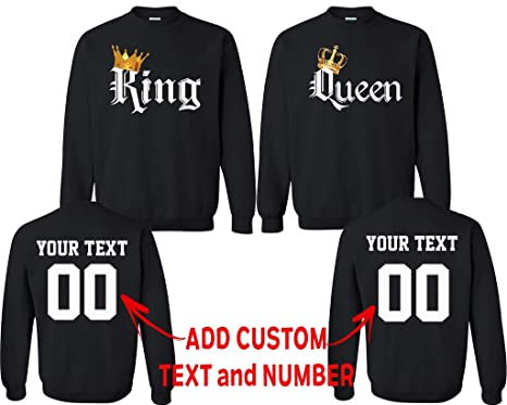 1d141c2ee447c1 King Queen Color Pattern Customized Text Name Design Couple Crewneck Size  Men L Women L