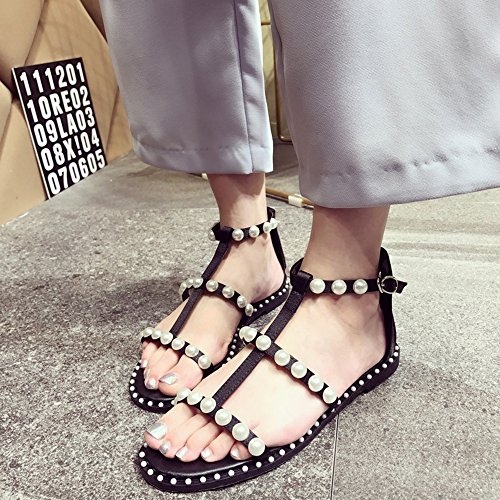 CHANCLAS SANDALS Retro Shoes Sandalias Verano Zapatos Planas Pearl Casual Sandalias Negro elegante ( Tamaño : EU39/UK6/CN39 )